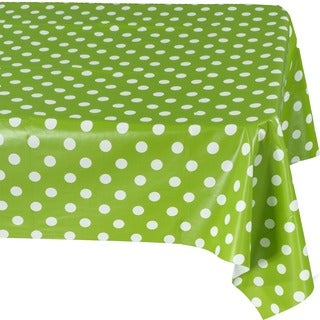 Ottomanson Green Polka-dot Vinyl with Non-woven Backing 55x70 Indoor/ Outdoor Tablecloth
