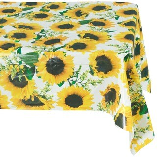 Ottomanson Vinyl Yellow Sunflower Design Indoor & Outdoor Tablecloth Non-Woven Backing 55 X 102