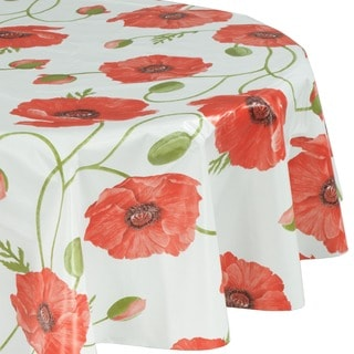 Ottomanson Poppy Flower Design Vinyl Non-woven Backing 55-inch Round Indoor/Outdoor Tablecloth