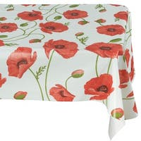 Ottomanson Poppy Flower Vinyl 55-inch x 70-inch Non-woven Backing Indoor/Outdoor Tablecloth