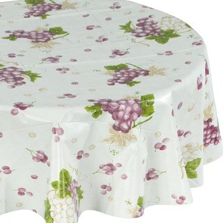 Ottomanson White and Purple Vinyl Grape Vine Indoor and Outdoor Round Tablecloth