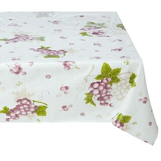 Ottomanson Vinyl Grape Vine Design Indoor & Outdoor Tablecloth Non-Woven Backing 55 X 102