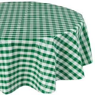 Ottomanson Checkered Green Vinyl with Non-woven Backing 55-inch Round Indoor/ Outdoor Tablecloth