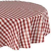 Ottomanson Red Checkered Design Vinyl 55-inch Round Indoor/Outdoor Tablecloth