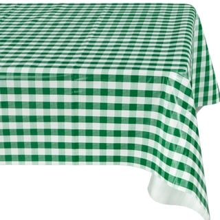 Ottomanson Green Checkered Design Vinyl Indoor/ Outdoor Tablecloth with Nonwoven Backing
