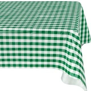 Ottomanson Green Checkered Design Vinyl Indoor/ Outdoor Tablecloth with Nonwoven Backing
