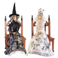 Good Witch/Bad Witch Joe Spencer Gathered Traditions Art Doll - Black/White