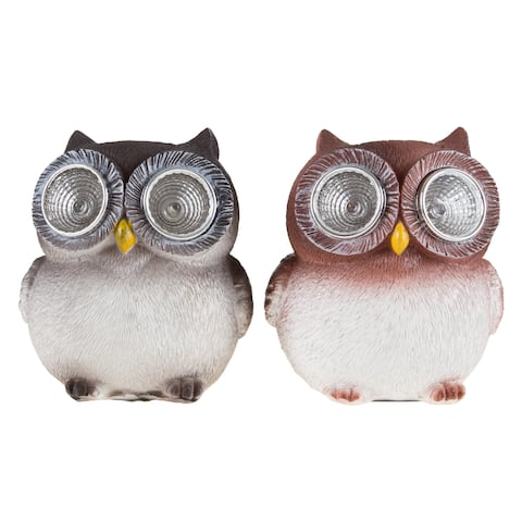 Yard Decor, Solar Outdoor LED Light and Battery Operated Statue for Garden by Pure Garden - Owl set of 2 Statue