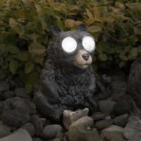 Yard Decor, Solar Outdoor LED Light and Battery Operated Statue for Garden by Pure Garden - Black Bear Statue