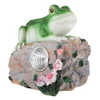 Yard Decor, Solar Outdoor LED Light and Battery Operated Statue for Garden, Patio, Lawn, and Yard by Pure Garden - Frog Statue