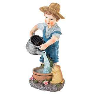 Yard Decor, Solar Outdoor LED Light and Battery Operated Statue for Garden by Pure Garden - Little Boy Statue