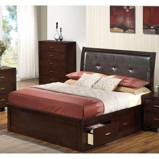 LYKE Home Cappuccino Finish Veneer and Wood Storage Bed