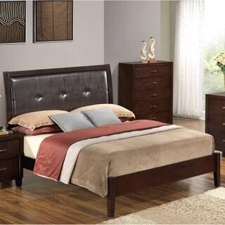 LYKE Home Brown Wood Padded Headboard Bed