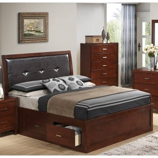 LYKE Home Brown Cherry Wood Blend Storage Bed