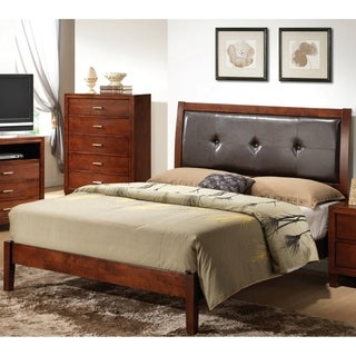 LYKE Home Cherry Padded Headboard Bed