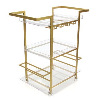 Benzara Uniquely Designed Gold/Clear Acrylic, Glass, and Iron Wine Cart