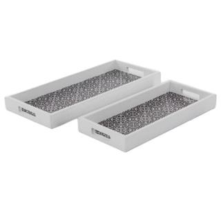 Benzara White Gorgeous Wood Tray - Set of 2