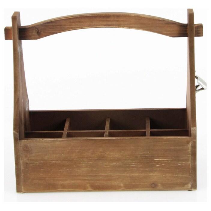 Benzara Wooden Crate Wine Holder (Brown) (Metal)