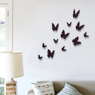 Walplus WS1008 Black 3-D Butterfly Pack (Pack of 12)