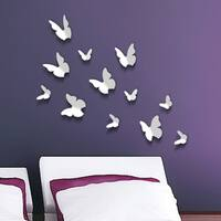 Walplus WS1009 White 3-D Butterfly Wall Stickers