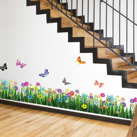 Walplus Large Colorful Butterfly Grass Skirting Wall Sticker Mural
