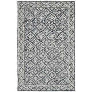 Dynamic Rugs Polar Collection Ivory/Navy Wool/Cotton Hand-tufted Area Rug (8' x 11')