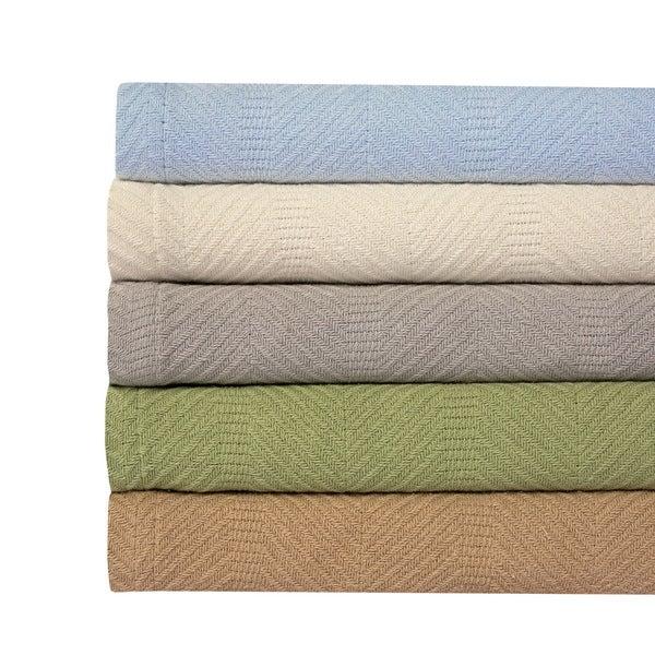 100% Cotton Herringbone Weave Blanket
