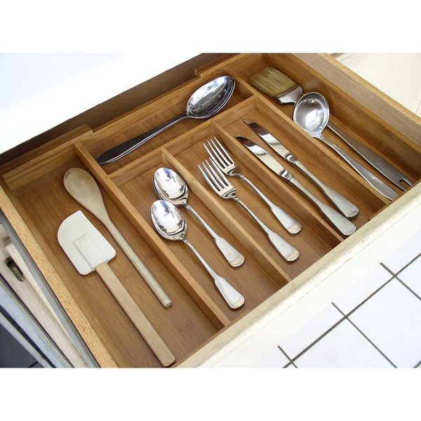 Bamboo Expandable Cutlery Organizer