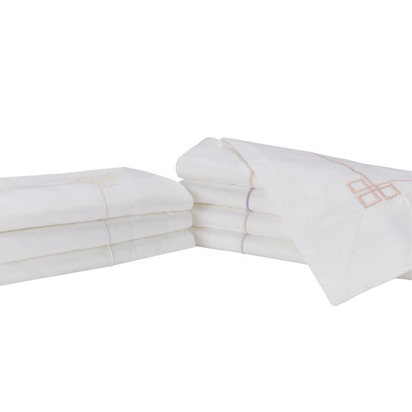 Sleep like a King 100-percent Cotton 500 Thread Count Fretwork Sham Pair Designed by Larry and Shawn King