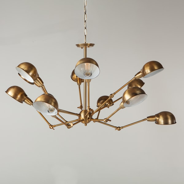 Gleam Brass Metal 12-light Spider Chandelier
