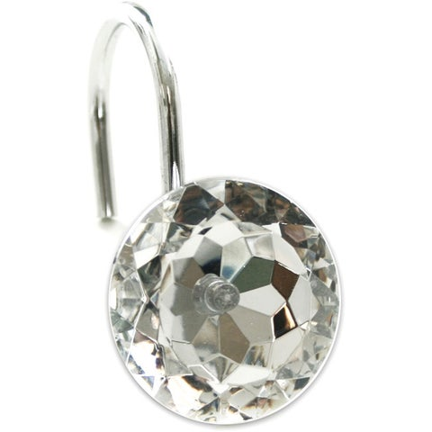 Sparkle Faceted Crystal Shower Curtain Hooks (Set of 12)