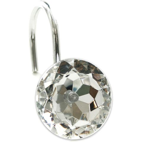Sparkle Faceted Crystal Shower Curtain Hooks - Set of 12 - Clear/Silver