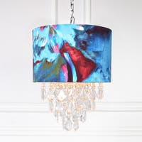 Silver Orchid Tellegen Tiered Crystal Abstract Watercolor Hanging Lamp