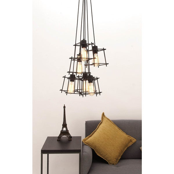 Urban Designs Polished Black Iron Metal Hanging Cage Pendant Light