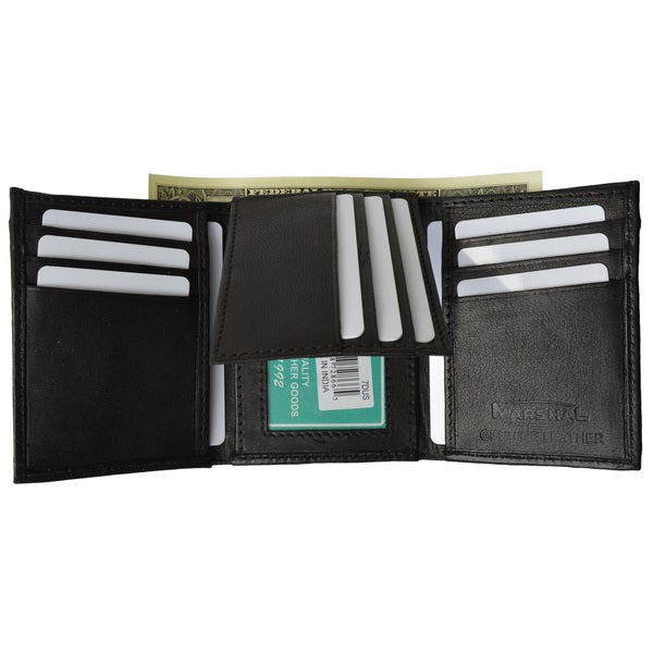 shop men s extra capacity inside slots 2 id windows trifold wallet