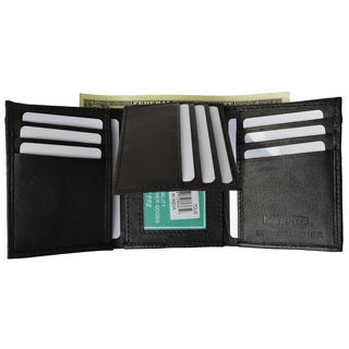 Men's Extra Capacity Inside Slots 2 ID Windows Trifold Wallet