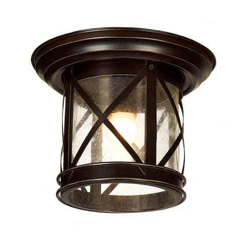 AA Warehousing 1 Light Outdoor Ceiling Mounted light in Sandy Black Finish