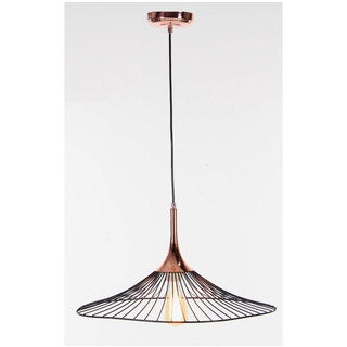 Benzara Copper Finish Iron Flared Hanging Lamp