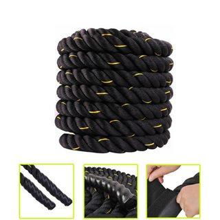 "1.5"" x 30ft Professional Lightweight Fitness Rope Black & Golden Edge"
