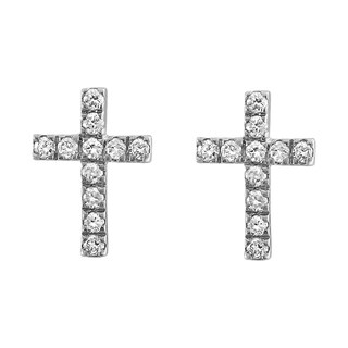 10k White Gold 1/7ct TDW Diamond Cross Stud Earrings - White H-I
