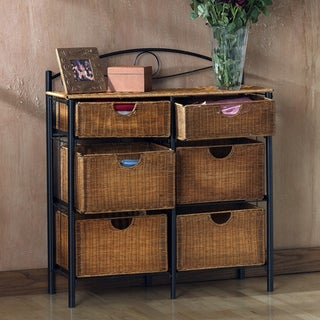 Harper Blvd Black Wicker Contemporary 6-drawer Storage Chest