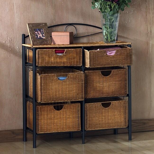 Harper Blvd. Wicker 6-drawer Storage Chest, Black