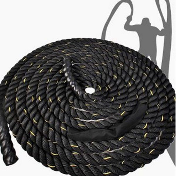 "2"" x 50ft Professional Lightweight Fitness Rope Black & Golden Edge"