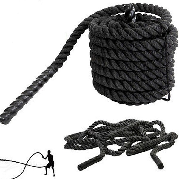 """1.5"""" x 30ft Professional Lightweight Fitness Rope Black"""