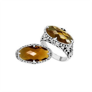 Handmade Sterling Silver Oval Faceted Citrine Bali Ring (Indonesia) - Yellow
