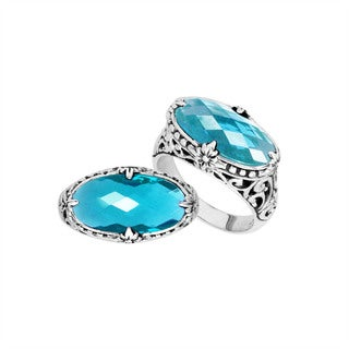 Handmade Sterling Silver Oval Faceted BlueTopaz Bali Ring (Indonesia)