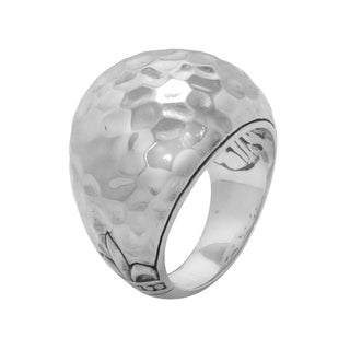 Handmade Sterling Silver Hammered Fleur de Lis Dome Bali Ring (Indonesia)