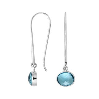 Handmade Bali Sterling Silver Oval Gemstone Linear Drop Earrings (Indonesia)