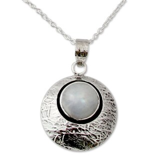 Moonstone Pendant Necklace, 'Intuitive Moon' (India)