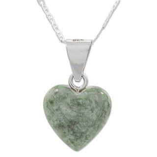 Jade Pendant Necklace, 'Mayan Heart In Light Green' (Guatemala)